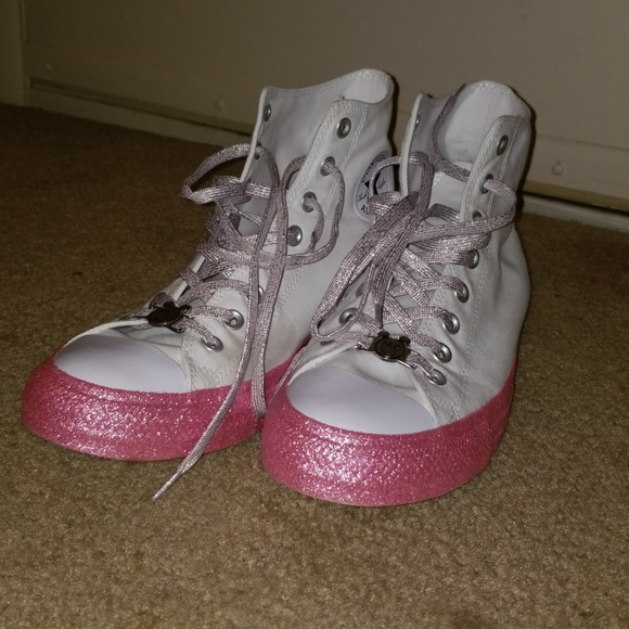 95f0d739903667 Converse Shoes - Pink Glitter Sole White Miley Cyrus Converse